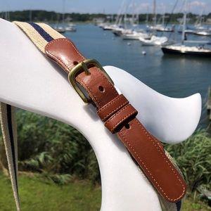 Coach Vintage Natural Linen / Leather Belt 🌊